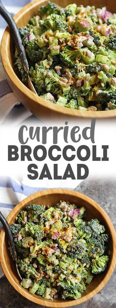 Make this Broccoli Salad with Creamy Curry Dressing for a SUPER easy side dish or potluck dish! Vegan, nut-free, oil-free & 10 mins to make. via @karissasvegankitchen