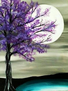 Night sky, tree with purple flowers, gorgeous moon