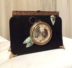 Retro Evening Clutch, Formal Steampunk Purse made with Vintage Treasures by Marelle.