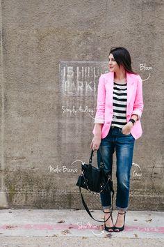 Striped blouse, pink blazer & bf jeans!