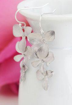 Silver Orchid Earrings Flower Earrings