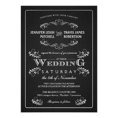 Ornate Chalkboard Vintage Wedding Invitations