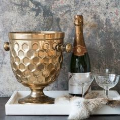 Image result for brass champagne bucket decor