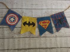 Custom SuperHero Burlap Banner Great for ANY by TheShabbyShop2011