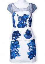White Short Sleeve Blue Floral Zipper Ruffles Dress