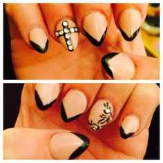 Pointed nails... Gel Manicure neutral black french tip. Designs rhinestones