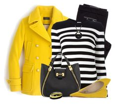 """""""Yellow Pea Coat"""" by daiscat ❤ liked on Polyvore featuring J.Crew, Yves Saint Laurent, Tom Ford, Miss Sixty, Dorothy Perkins and Signature Gold"""