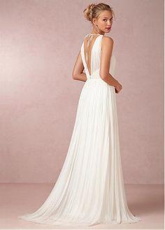 4423ecec7368 Magbridal Gorgeous Chiffon A-line V-Neck Natural Waist Floor Length Wedding  Dress