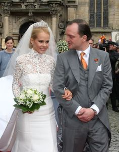 Prince Alexander zu Schaumburg-Lippe and his bride Nadja Anna Zsoeks leave the church after the wedding ceremony at the city church on 30.0Ju6.2007 in Bueckeburg, Germany.