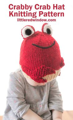 Knit up this Crabby Crab Hat Knitting Pattern for your crabby little one! An adorable ocean themed knit for your baby or toddler! Knitting Terms, Kids Knitting Patterns, Baby Hat Knitting Pattern, Hat Patterns, Double Pointed Knitting Needles, Circular Knitting Needles, Knitted Hats, Crochet Hats, Nautical Nursery