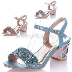 Ladies Shiny Sequins Ankle Strap Block Mid Heel Sandals Shoes Plus Size 6513