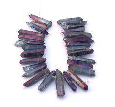 Peacock Purple Blue Mystic Titanium AB Quartz Double Drilled crystal point beads 15-40mm