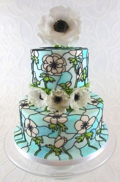 Tutorial - Stained Glass Effect Cake - this is a neat effect, if in more color/ flower style that I liked