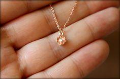 Tiny Diamond Flower Necklace in Rose Gold by saffronandsaege