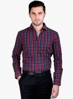 Buy Kenai Green Checks cotton formal shirts for men online made ...