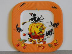 Vintage Square Halloween Express Paper Plate~Witch, Black Cat, Pumpkin Doughnuts