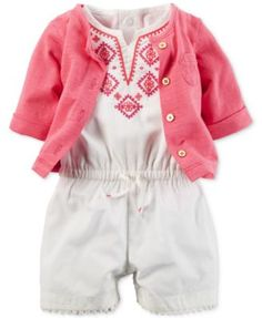 Carter's Baby Girls' 2-Piece Embroidered Romper & Pink Cardigan Set