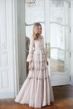 """""""Roses"""" dove-gray tulle tiered wedding dress with scalloped details dresses Needle & Thread Fall 2017 Wedding Dress Collection Bridal Collection, Dress Collection, Pretty Dresses, Beautiful Dresses, New Wedding Dresses, 2017 Wedding, Tulle Wedding, 2017 Bridal, Trendy Wedding"""
