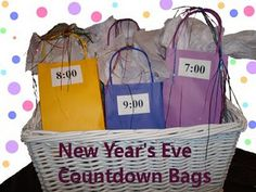 I think I will do this with the kids this year! Every hour until midnight the kids get to open a bag. a bunch of craft projects for $1 a piece. filled a few of the bags with treats to eat during the movies. noise makers and confetti in the last bag.