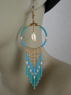 Seed Bead Hoop Chain Earrings  Aqua/Turquoise by pattimacs on Etsy, $24.00
