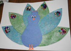 Peacock craft w/Printable Template uses shimmer paint