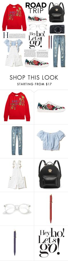 """Road trip vibes"" by briesepb ❤ liked on Polyvore featuring Gucci, Hollister Co., Versace, Fujifilm, Hightide and Damaris"