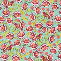 Tula Pink Eden Lotus Tomato Fabric By The Yard: Designed by Tula Pink for Free Spirits Fabric this cotton print fabric is perfect for quilts home décor accents craft projects and apparel. Colors include pink yellow aqua blue and red. Fabulous Fabrics, Soft Fabrics, Tula Pink Fabric, Fabric Factory, Free Spirit Fabrics, Cotton Quilting Fabric, Quilting Projects, Craft Projects, Quilt Kits