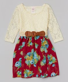 Another great find on #zulily! Burgundy Floral Lace Belted Dress - Toddler & Girls #zulilyfinds