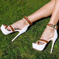 Share to get a coupon for all on FSJ Women's White and Brown Open Toe Ankle Strap Sandals Hot Shoes, Crazy Shoes, Me Too Shoes, Stiletto Shoes, Shoes Heels, Pumps, Hot High Heels, Platform High Heels, Ankle Strap Sandals