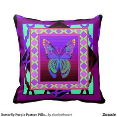 Butterfly Purple Pattern Pillows by Sharles