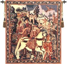 Woven in Belgium History: Falcon Hunt Belgian tapestry shows one of the favorite pastimes of the 16th Century. It is based on a panel found in the 16th century