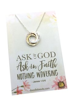 We are linked together as sisters.Ask of God Ask in Faith, LDS mutual theme 2017 jewelry gift, 3 stamped rings entwined, James YW mutual theme, new beginnings Young Women Lessons, Young Women Activities, Mutual Activities, Lds, Personal Progress, Girls Camp, Daughter Of God, Ring Necklace, Engraved Necklace
