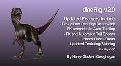 Dinorig_v2_image1 Character Rigging, Free Characters, Zbrush, Rigs, Maya, Animation, Dinosaurs, Wedges, Animation Movies