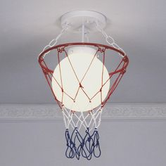 Basketball net over light...good idea for basketball players rooms