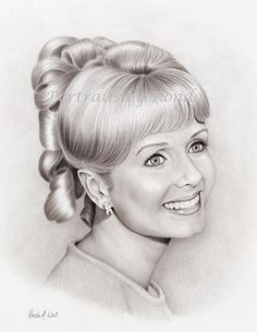Debbie Reynolds by rondawest {from USA} ~ pencil portrait