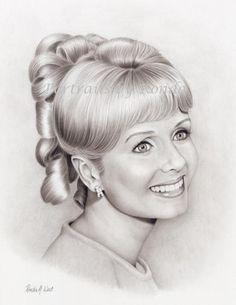 Debbie Reynolds by rondawest {from USA} ~ pencil portrait