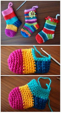 Crochet Christmas Socks Free Crochet Patterns - Video - Crochet - Diy and crafts interests Crochet Baby Socks, Crochet Diy, Crochet Slippers, Crochet Gifts, Crochet For Kids, Booties Crochet, Crochet Clothes, Knitted Baby, Crochet Cardigan