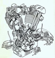 early OHV engines (like this John Alfred Prestwich V-twin from the '20s) -