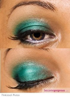 Pictures : Eye Makeup Ideas - Turquoise Green Eye Makeup Look