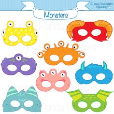 Monster Printable Masks halloween masks by HungryPandaSupplies