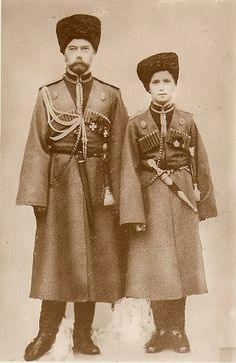 Tsar Nicholas II & his son, Alexei. Both shot to death by the bolcheviquesEras of Elegance : Photo