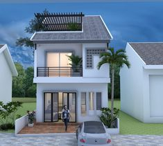 Tiny House – Drawing From and – SamPhoas Plan Modern Small House Design, Small House Exteriors, Simple House Design, House Front Design, Dream House Exterior, 2 Storey House Design, Bungalow House Design, Narrow House Plans, Tiny House Plans