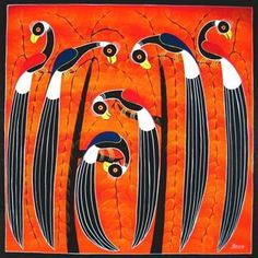 Tinga Tinga style of painting today has transformed itself in myriad ways, yet rooted in the African folk art tradition. Indian Folk Art, Mexican Folk Art, Unusual Art, Unique Art, Kunst Der Aborigines, Modern Art, Contemporary Art, Art Tribal, Africa Art