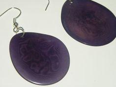 dangle drop earrings earhooks with purple tagua by MaisonDelclef