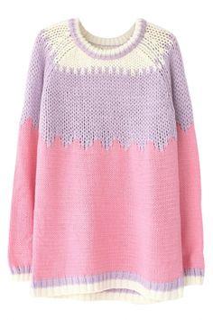 Pink Lavender Geo Pattern Sweater