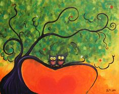 "'Owl Love You"" Jennifer Alvarez Acrylic Painting On Canvis"