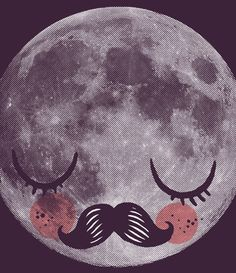 Moon face with a Moustache print
