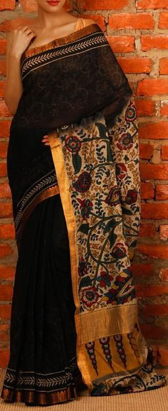 Handcrafted Cotton Saree with Kalamkari. original pin by Kalamkari Saree, Silk Sarees, India Fashion, Ethnic Fashion, Women's Fashion, Latest Fashion, Indian Attire, Indian Ethnic Wear, Saris