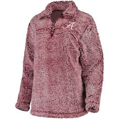 7af60b84 Women's Crimson Alabama Crimson Tide Sherpa Super Soft Quarter Zip Pullover  Jacket