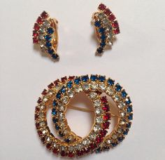 Genuine Vintage Costume Jewelry Rhinestone Brooch Earrings
